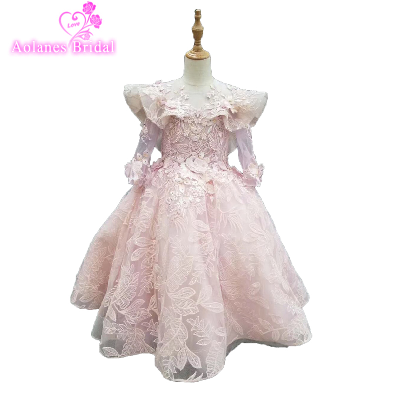 2019 Flower Girl Dresses Elegant Pink Lace Applique Sleeveless Cascading Kids Pageant Gowns For Weddings First Communion Dresses