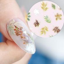 Nuance leaf design Newest HANYI-348 3d nail sticker Japan style nail decal DIY art decoration tools