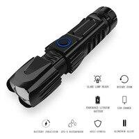 XHP90 zoom telescópico USB carga entrada y salida con clip de bolígrafo con martillo de seguridad linterna deslumbrante