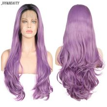 JOY&BEAUTY Ombre Purple Black Root Long Wavy Synthetic Lace Front Wig For