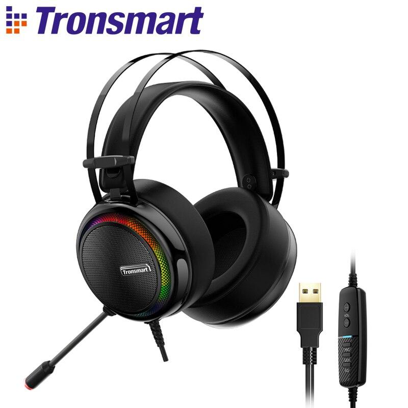 Tronsmart glary gaming headset ps4 fone de ouvido virtual 7.1, usb interface jogos fones de ouvido para ps4, nintendo switch, computador, computador portátil