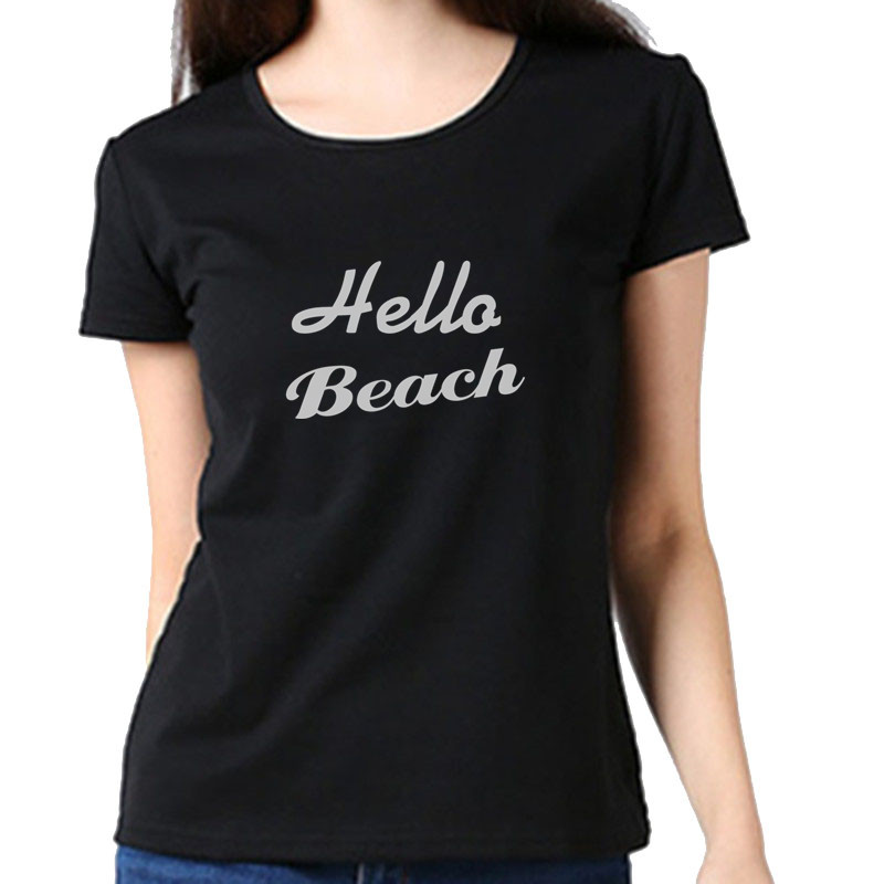 Spring and Autumn Simple Women's Round Neck T-Shirt Letter Print Classic Casual Short Sleeve Top