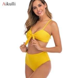 Image 1 - 2020 Sexy Bikini strój kąpielowy kobiety wysokiej talii stroje kąpielowe stałe stroje kąpielowe Push Up Bikini zestaw dwuczęściowy strój kąpielowy kobiet Biquini