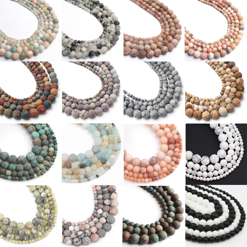 Natural Stone Matte Beads 4/6/8/10mm Dull Polished Frost Cracked Agates Beads for Jewelry Making Minerals Diy Bracelet Jewellery
