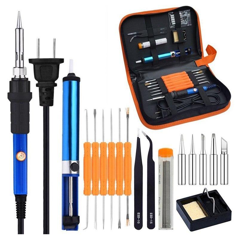 Full Set 60W 110V Electric Soldering Iron Kit With Adjustable Temperature Welding Iron, 5pcs Tips, Desoldering Pump, 2pcs Tweeze