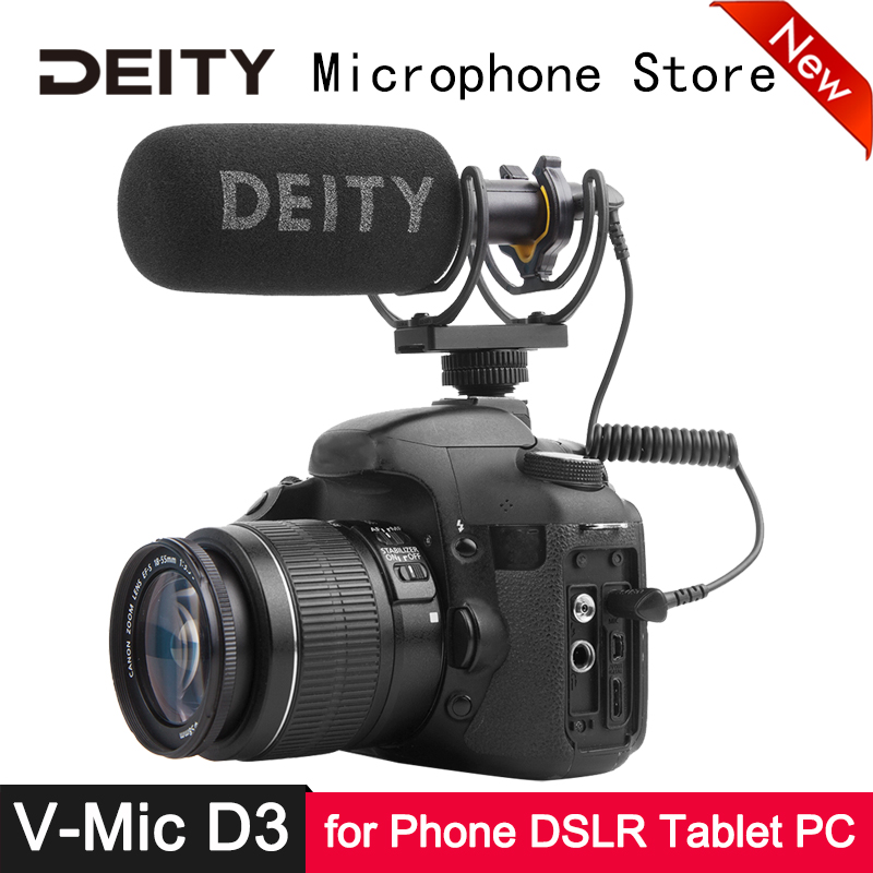 Deity V-Mic D3 Microphone Superior Off-axis Sound Low Noise Distortion For DSLR Camera Camcorder Recorder Phone Laptop Tablet
