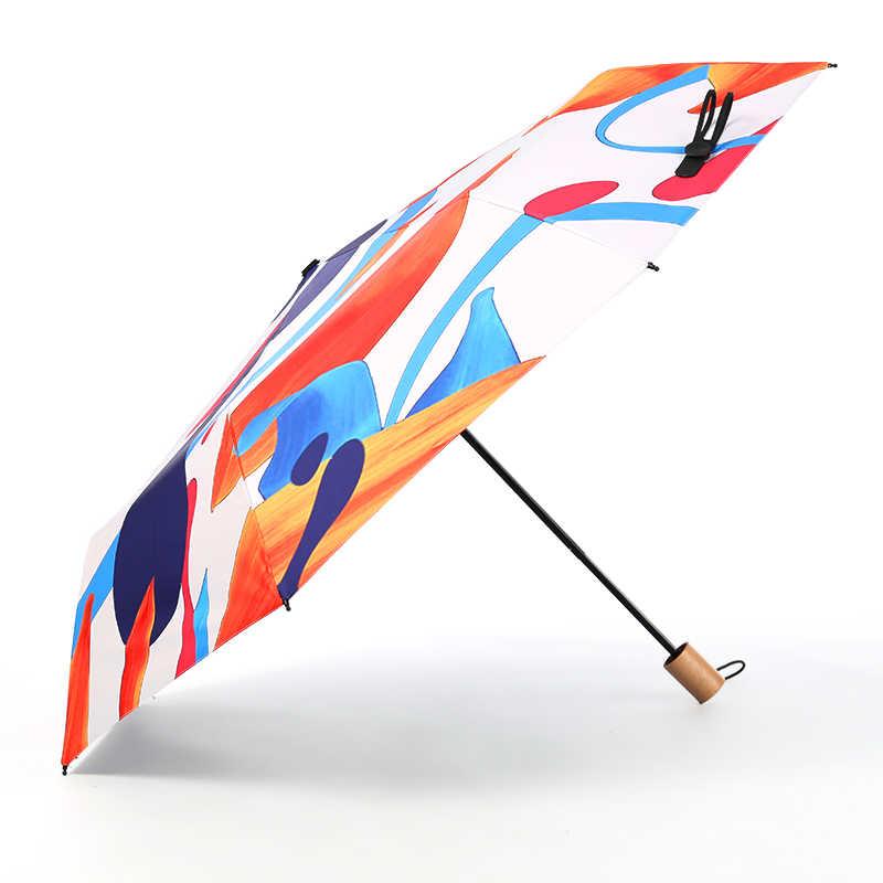 مجردة الفن مظلة واقية من الشمس المطر النساء للطي الشمس حماية الأشعة فوق البنفسجية المظلة شمسية صغيرة طلاء أسود كبسولة عالية الجودة هدية