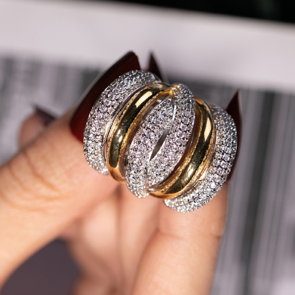 Big Silver Cocktail Finger RING For Women Luxury Gold Plated 238pcs Simulated Diamond Painting Full Stone Ring Jewelry Size 5-10