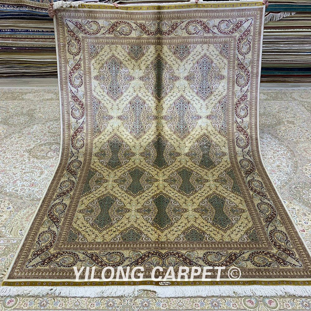 Yilong 5.5 'x 8' Farsça halı dikdörtgen yeşil türk el dokuma - Ev Tekstili