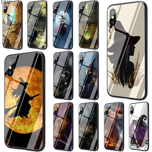 EWAU Halloween Witch Tempered Glass phone case for iphone SE 2020 5 5s SE 6 6s 7 8 plus X XR XS 11 pro Max