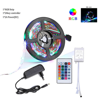 5-Meter Waterproof Flexible Color Changing RGB SMD3528 600 LEDs Strip Light +Ne livingroom decorative lighting strip light for p image