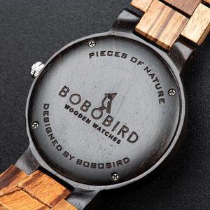 Image 5 - Bobo Vogel Mannen Horloge Automatische Datum Week Display Hout Horloges Mannelijke Uurwerken Quartz Horloges Relogio Masculino Gift