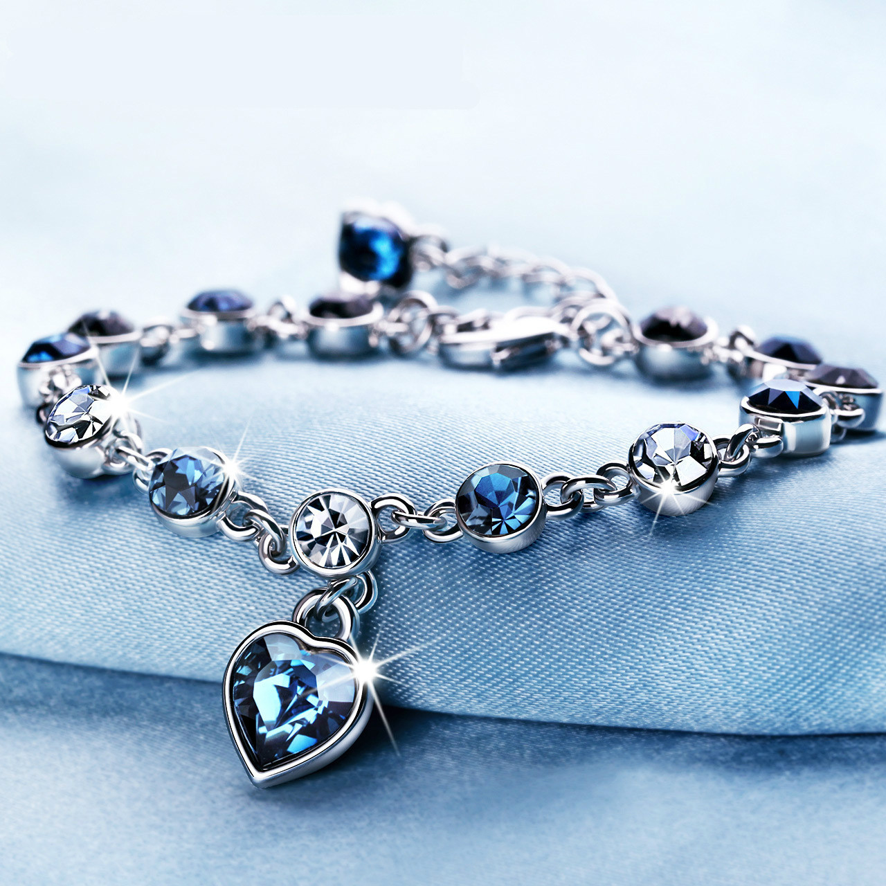Sapphire Bracelet Silver-Color Women Jewelry for Romantic Heart-Shaped Blue Pulseira title=