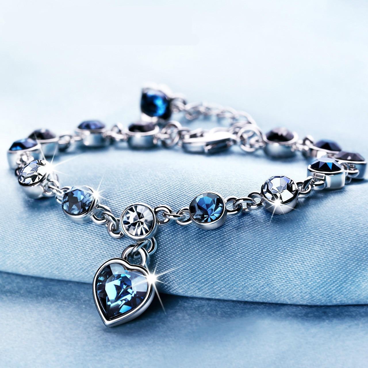Silver Color Sapphire Bracelet For Women Romantic Heart-shaped Blue Jewelry Pulseira Feminina Kehribar Bizuteria Bracelet