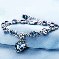 Silver Color Sapphire Bracelet For Women Romantic Heart-shaped Blue jewelry pulseira feminina kehribar bizuteria Bracelet