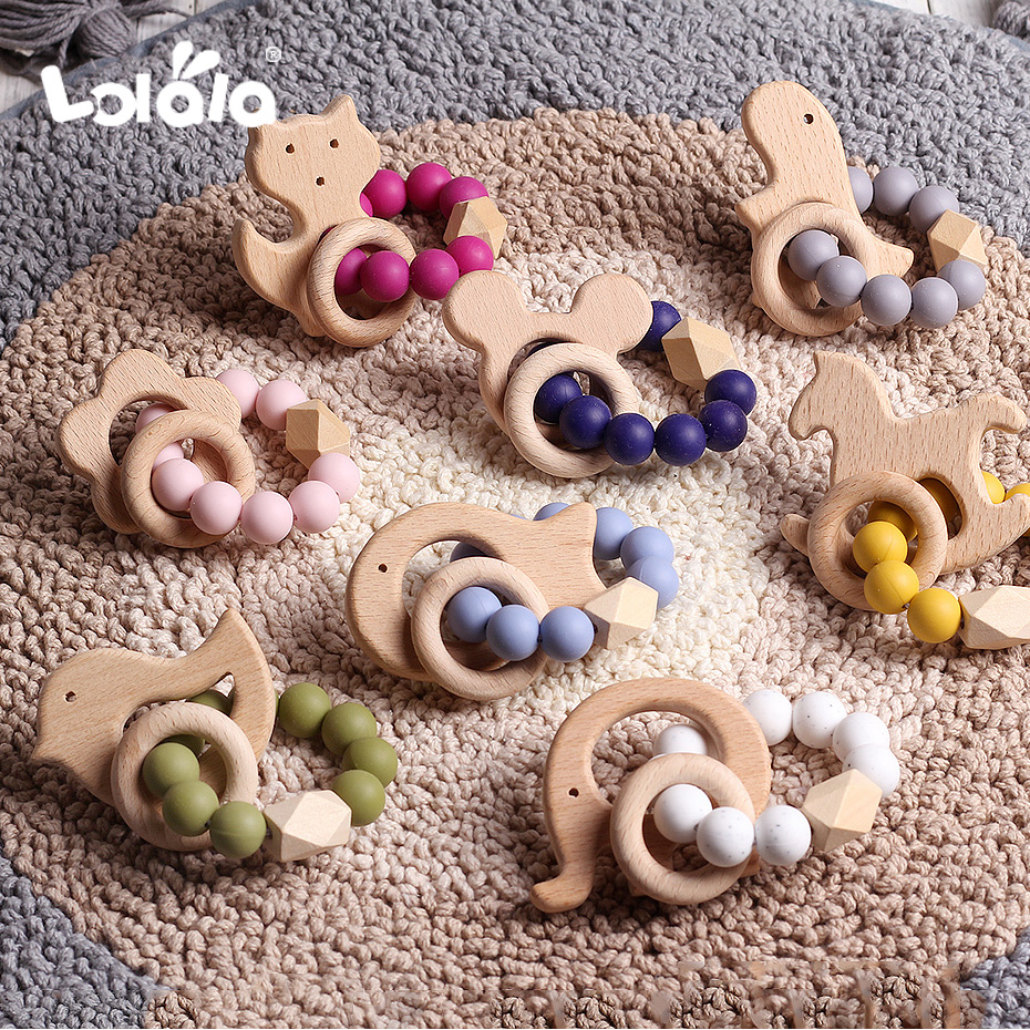 Baby Silicone Teether Nursing Bracelets Natural Beech Teether Silicone Beads Teething Baby Teether Bracelets Nursing Toys Gift