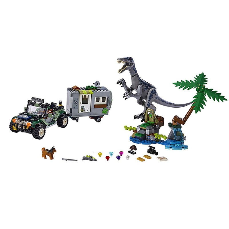 In Stock New Jurassic World Park Baryonyx Face-Off The Treasure Hunt Dinosaurs Building Block Bricks Toys For Children