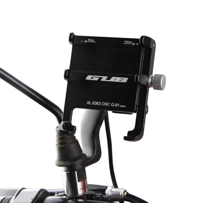 """Aluminiu 12V 48V Scooter Motorcycle E Bike Cell Phone Holder with USB Charger Motorbike Rearview Mirror Bracket Mount for 4 6.7""""