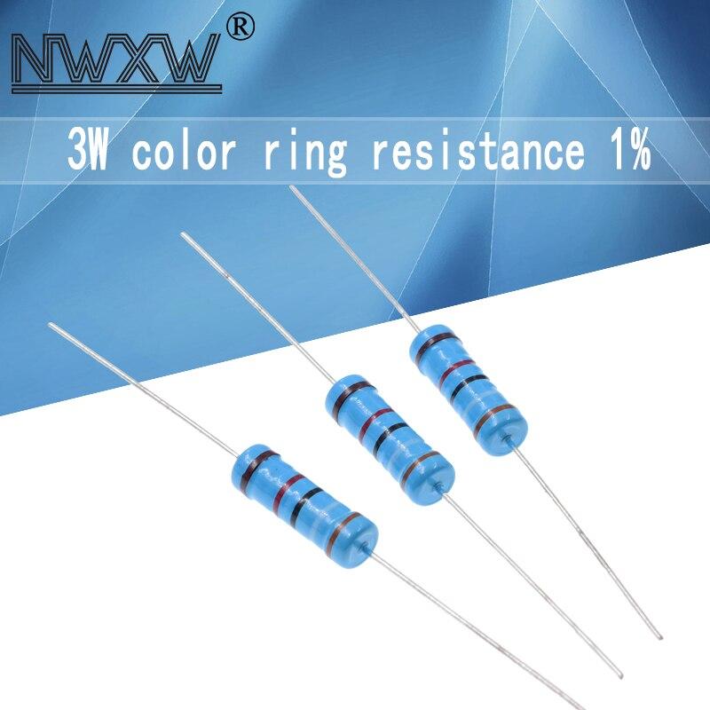 20 шт., металлический резистор 3 Вт 1% 1R ~ 1M 2.2R 4.7R 10R 22R 47R 100R 220R 470R 10 1K 100K 2,2 4,7 22 47 100 220 390 470 Ом