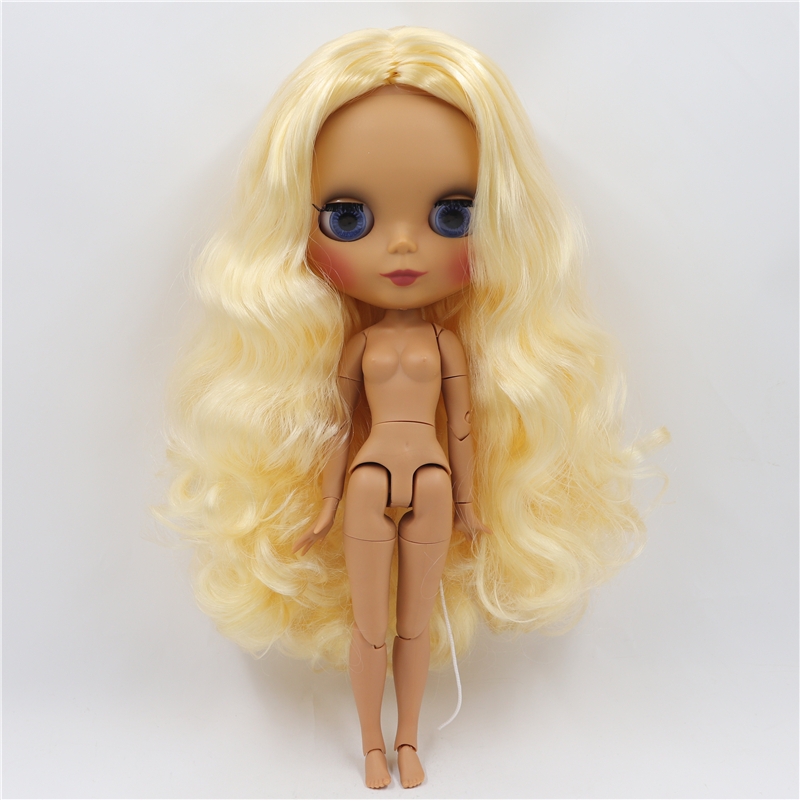 Blythe Nude Doll from Factory Matte Face Golden Long Curly Hair