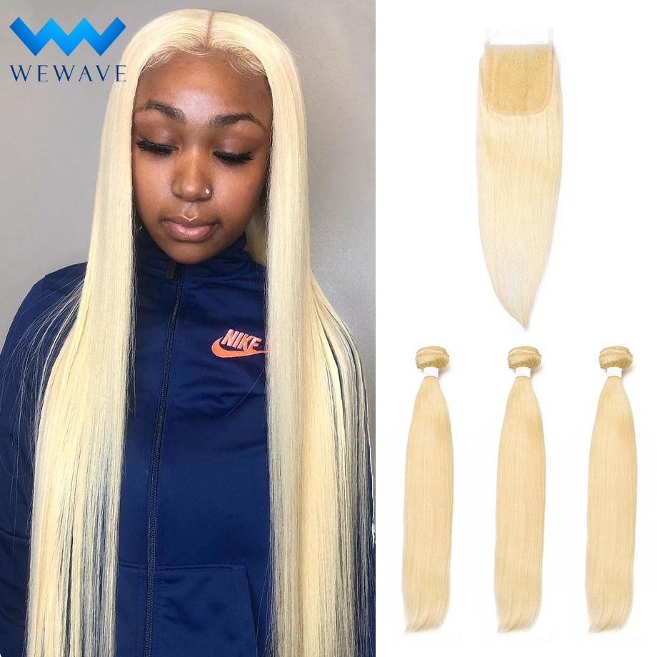 Blonde Human Hair Bundles With Closure Brazilian Straight 613 virgin Hair Weave Extension Long for Black Women 3 Bundles image