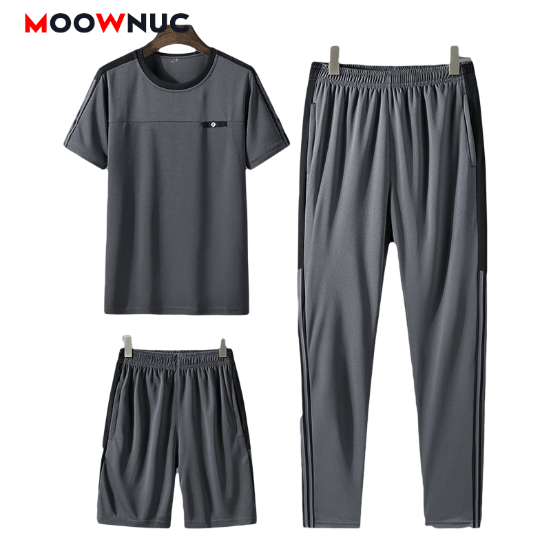 Men's Sets Jogger New 2020 Trousers + T-shirt+Short Thin Loose   Three Piece Suits Fashion Summer Casual Male Striped   MOOWNUC