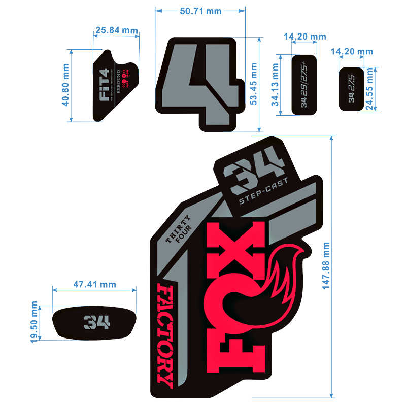 FOX 34 Factory 2021 fork new sticker mountain bike fox cycling various stickers