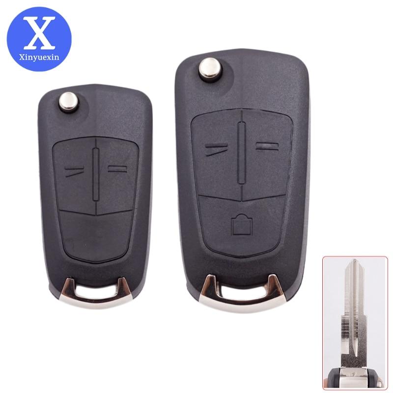 Xinyuexin carro dobrável chave do escudo para opel antara ampera chave para chevrolet epica 2 3 botões de controle em branco habitação