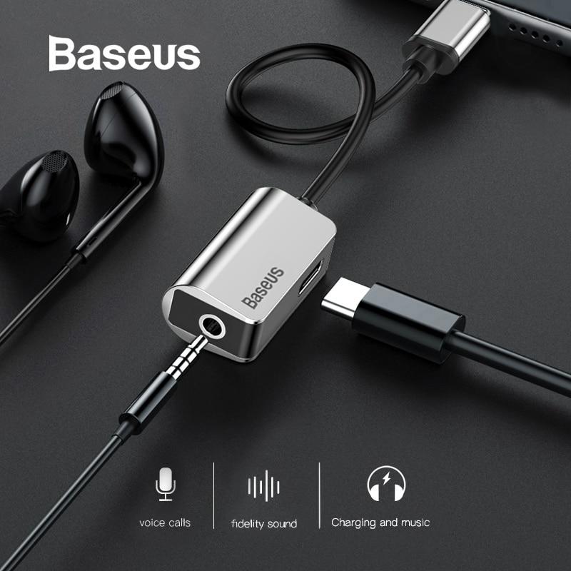 Baseus usb c a 3.5mm aux adaptador de áudio para xiaomi 6 huawei p20 pro usb tipo c a 3.5 fone de ouvido conversor tipo c cabo para usb