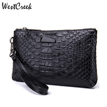 WESTCREEK Brand Women Clutch Wristlets Bags Vintage Split Leather Crocodile Pattern Ladies Small Handbags for Female
