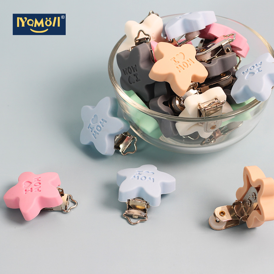 10PC Stars Pacifier Clip Smiling Silicone Bead Baby Clip Teething Accessories Clip Clasps Toy DIY Pacifier Chain Tool