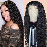 MISNEY-Peluca de onda de agua de 32 pulgadas peluca con malla frontal para mujer, pelucas de cabello humano Remy de onda Natural, 4x4 brasileño, pelucas con cierre de encaje