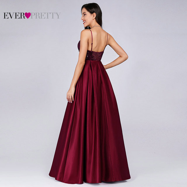 Prom Dresses Satin 2020 Ever Pretty EP07859 Sexy V-neck Sequined Backless Red Long Formal Party Gowns Cheap Prom Long Elegant 2
