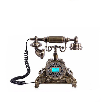 Natural Resin Retro Landline Telephone Old Fashion Button Dial Phone with Caller ID, Speaker, FSK / DTMF Dual System, Ba