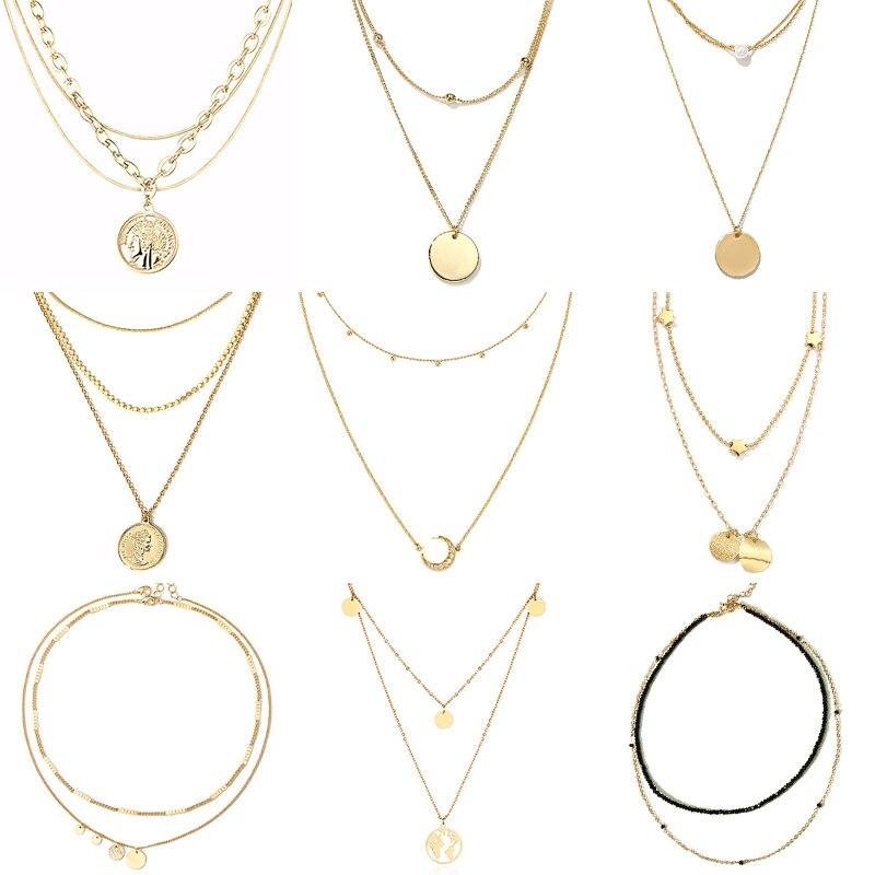 Многослойное ожерелье, длинное ожерелье с подвеской, женское ожерелье из нержавеющей стали, цепочка с подвеской в виде Луны, круга, карты, ожерелье для женщин|Цепочки|   | АлиЭкспресс