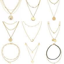 Multilayer Halskette Lange Anhänger Halskette Frauen Edelstahl Halskette Mond Kreis karte Anhänger Kette Halskette Für Frauen