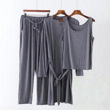 Pyjama en coton modal confortable pour femmes, vêtements de maison, cardigan chemise + gilet + pantalon, ensemble 3 pièces, nouvelle collection