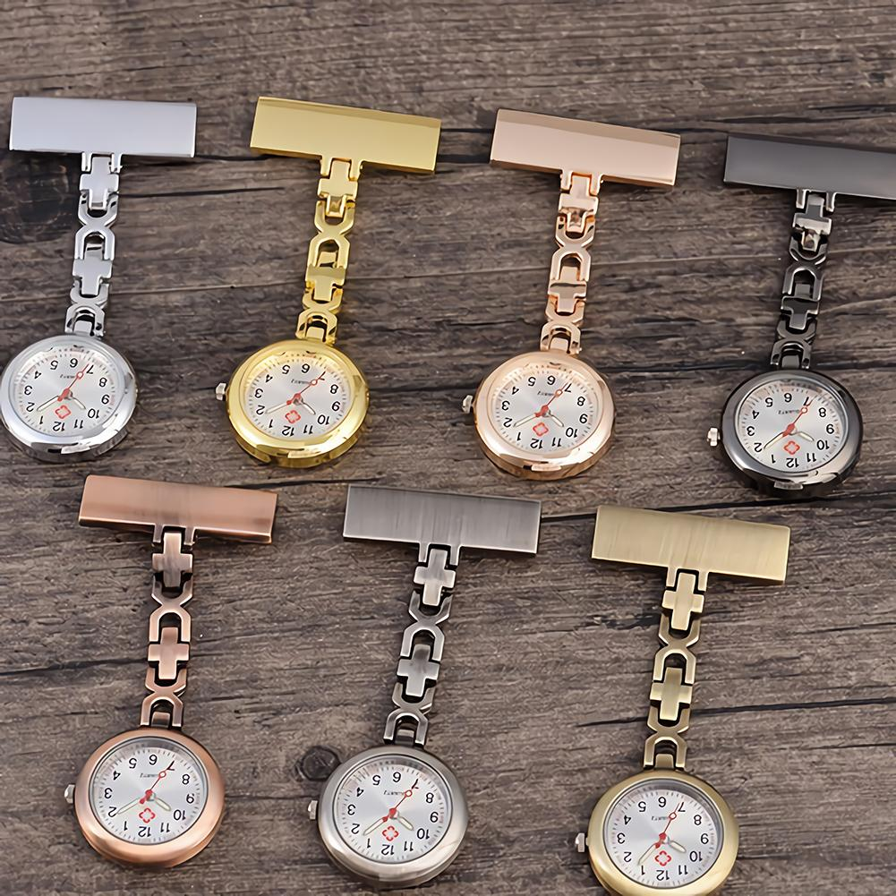 Fashion Mini Round Dial Clip On Brooch Chain Pendant Hanging Quartz Fob Nurse Table Stainless Steel Lapel Pocket Watch Gifts