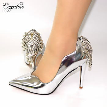 Capputine High Quality Italian Rhinestone Woman Shoes African PU With Rhinestone High Heels Woman For Wedding Free Shipping