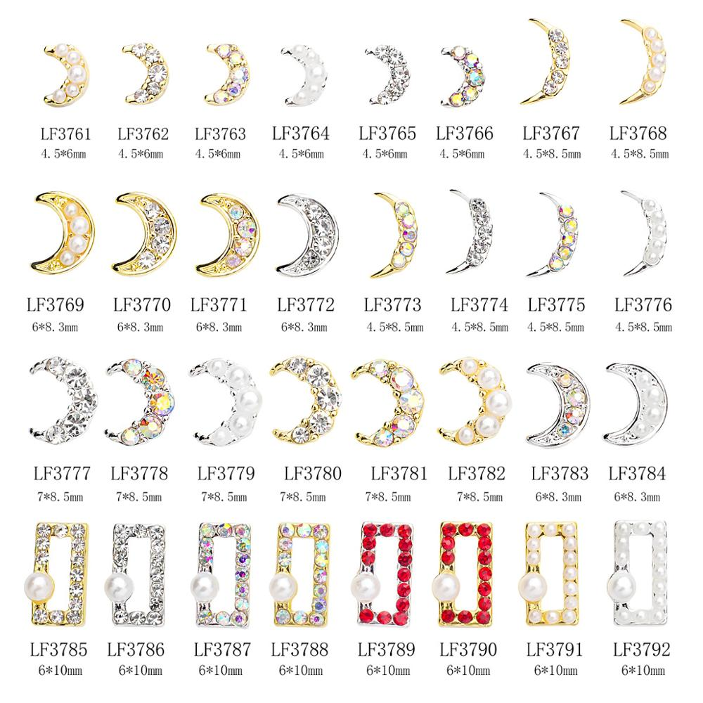 10pcs Crescent moon rectangle 3d alloy nail art decorations supplies rhinestones pearl metal nails accessories jewelry charms