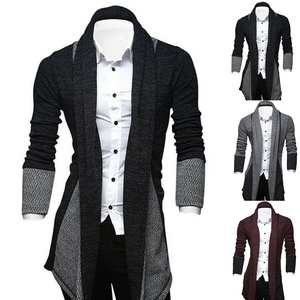 Cardigan Long-Coat Men Knitted Plus-Size Patchwork Color-Blocks Loose Travel Suitable-For