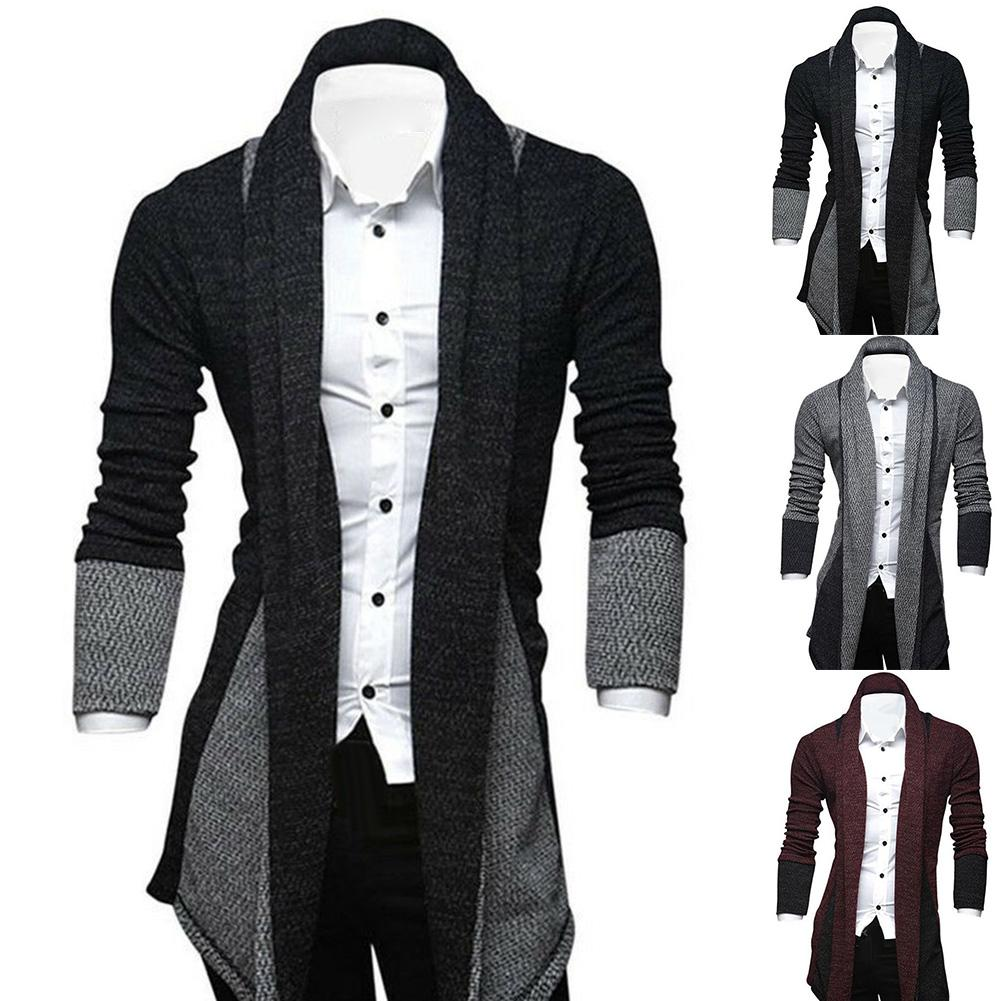 Men Long Sleeve Color Blocks Patchwork Knitted Loose Plus Size Long Coat Cardigan Suitable for work travel