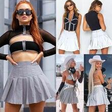 New Women's Reflective Short Mini Skirts High Waist Summer Autumn Pleated Beach