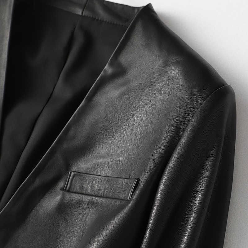 Nerazzuri jaqueta de couro falso feminina, casaco de couro preto para mulheres com decote em v profundo cinto de outono e primavera de 2020