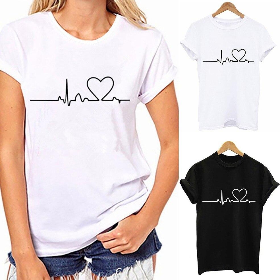 2020 Women T-shirts Harajuku Love Printed Casual Tops Tee Summer Female T shirt Short Sleeve T shirt For Women Clothing