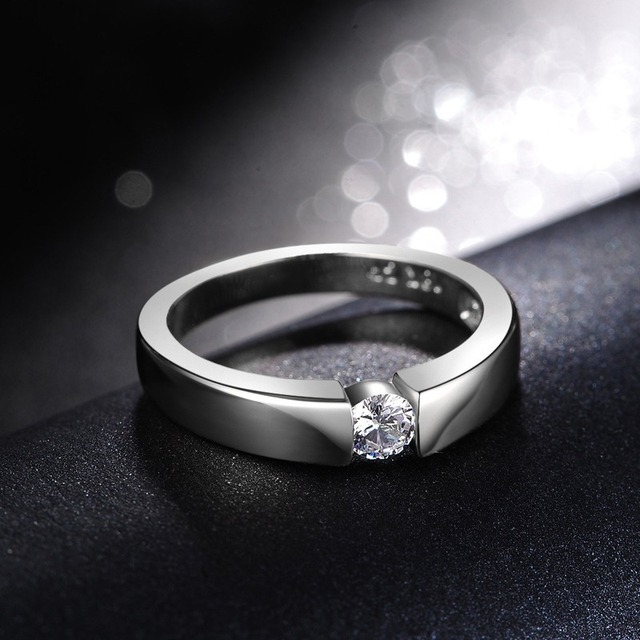 14K Rose Gold Diamond Engagement Ring for Couple Male Bridal Wedding Band Personalized AAA Zircon Rhinestone S925 Silver Rings 4