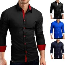 Men Shirt Brand 2019 Male High Quality Long Sleeve Shirts Casual Hit Color Slim Fit Black Man Dress 4XL C936
