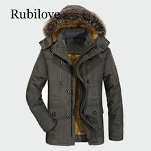 Rubilove Winter Coats New Jacket Men Plus Velvet Thickening Warm Windproof Jackets Mens Casual Hooded Coat Brand Clothing