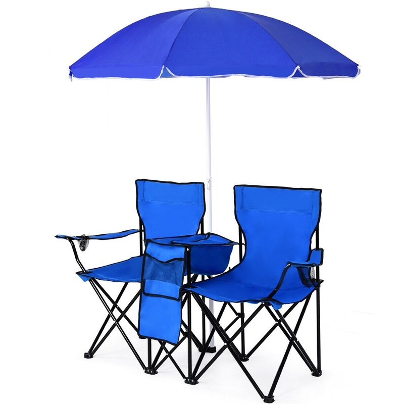 Outdoor Beach Portable Lightweight Folding Picnic Camping Fishing Double Chair With Removable Umbrella OP3474