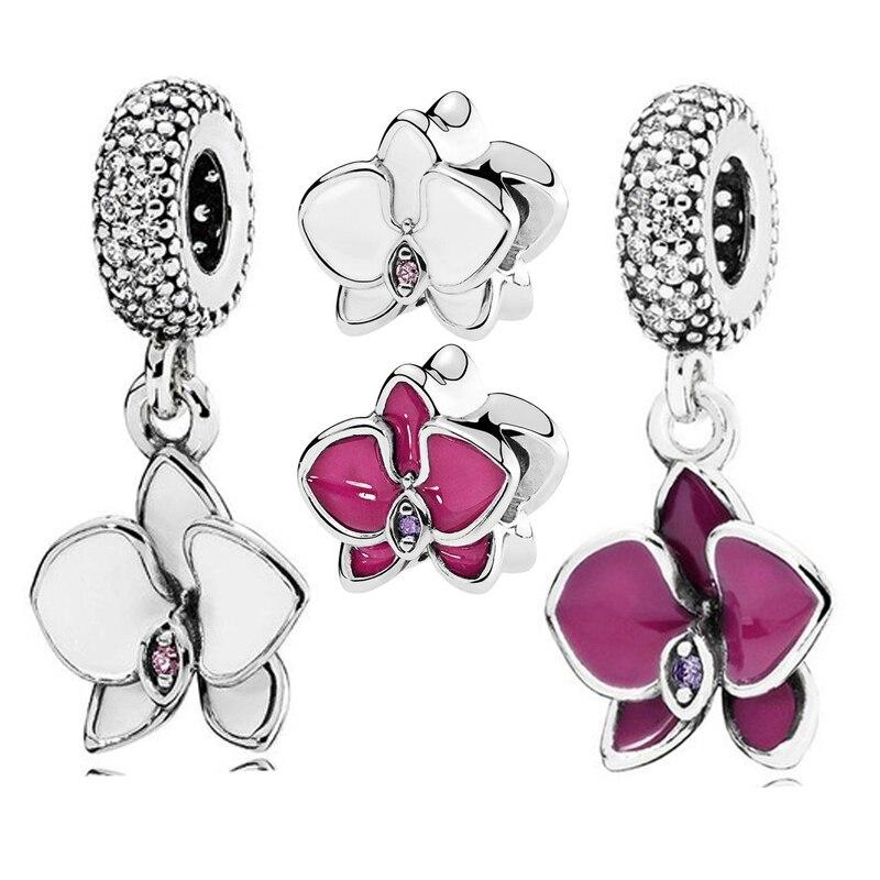 QANDOCCI Echt 925 Sterling Silber Blume Charme Weiße Orchidee Baumeln  Charms Fit Ursprüngliche Pandora Armband Diy Schmuck